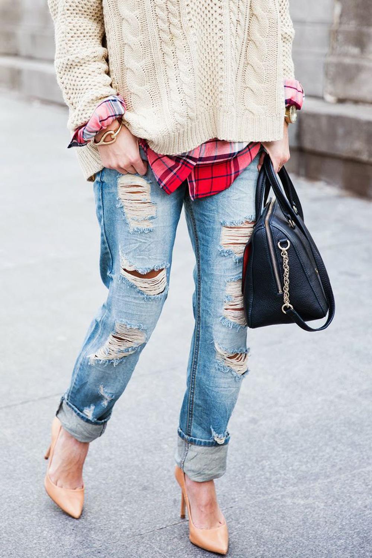 look jeans strappati | denim | tartan