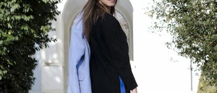 dani gropu | cappotto azzurro | vestito maglione | abbigliamento low cost
