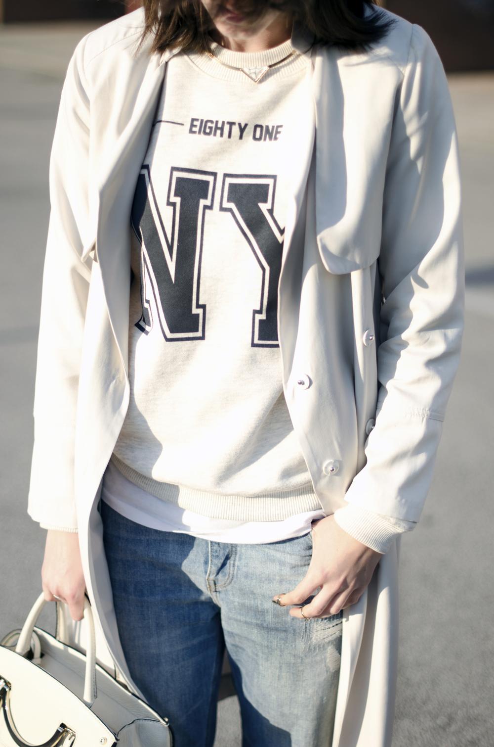 normcore outfit | felpa ny | boyfriend jeans | borsa coccinelle