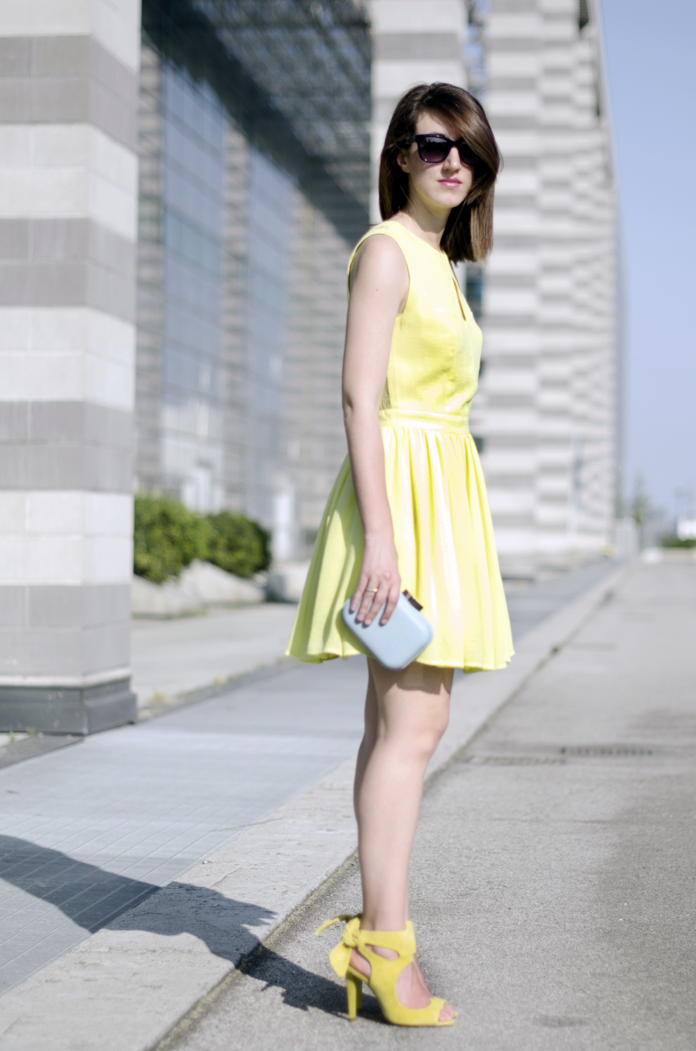 yellow lace dress | yellow outfit ideas | bow sandals