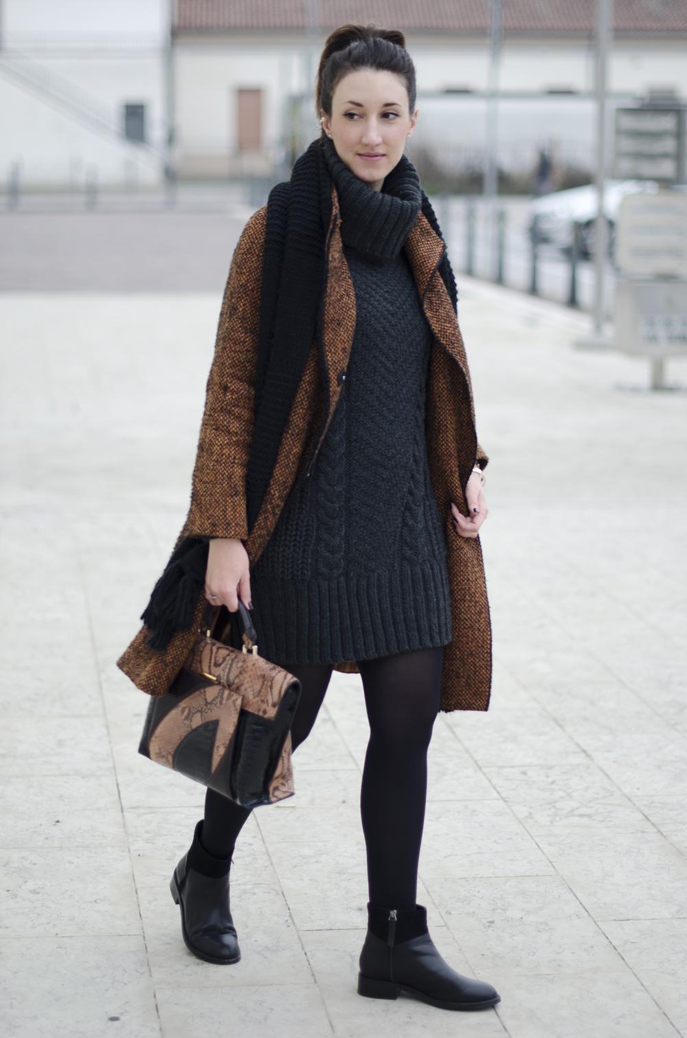 Invernale Look Per Un Trecce Cappotto Oversize A Maglione E gq1qw