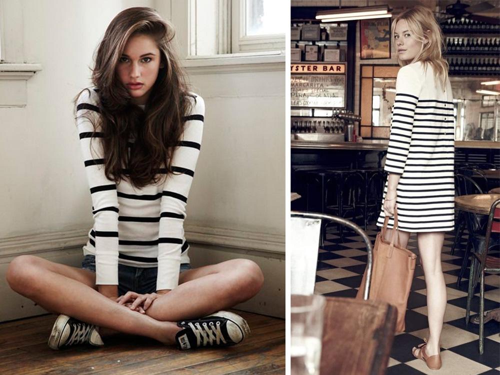 modo di vestire alla francese con vestito a righe