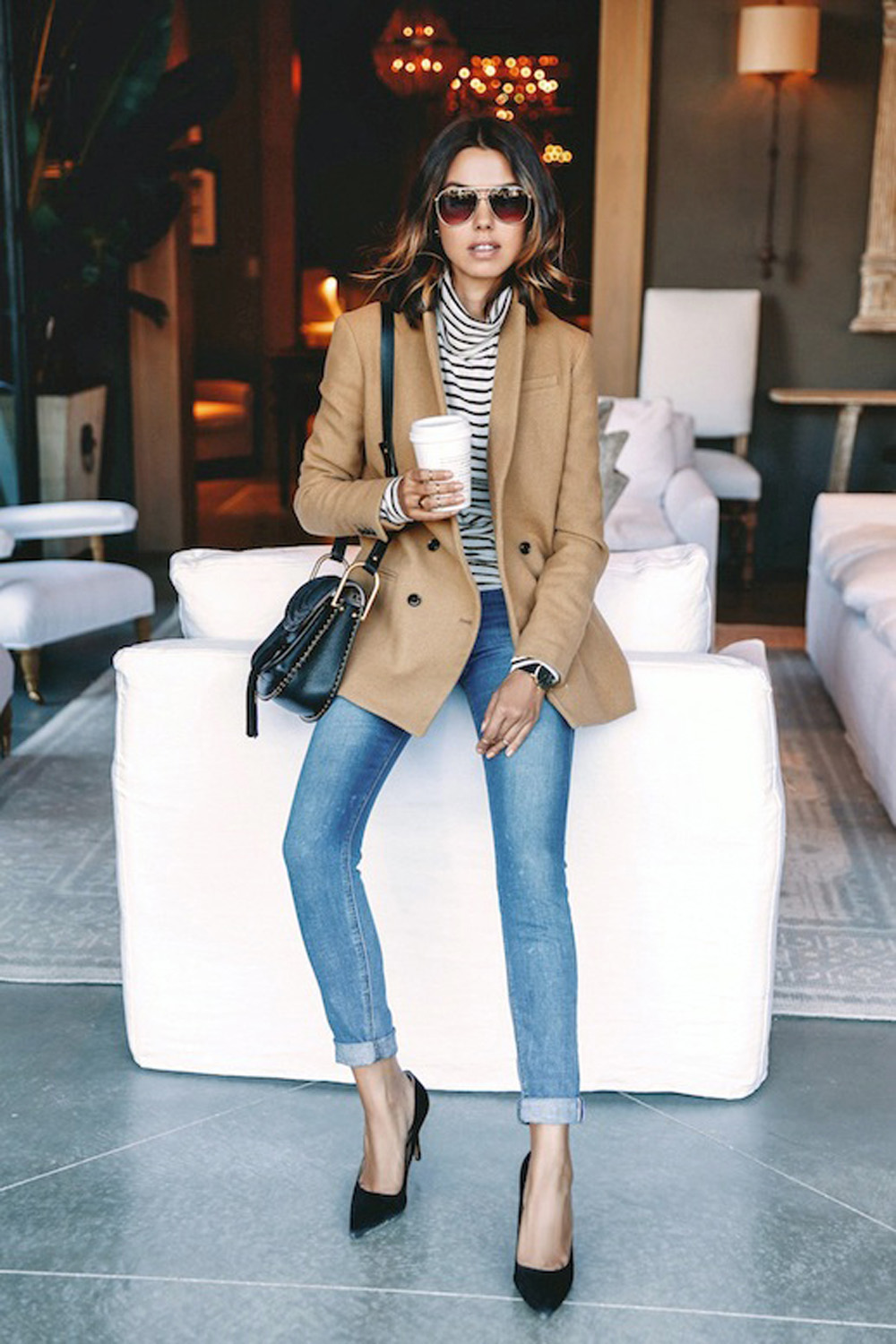 Navy Blue Blouse Outfit