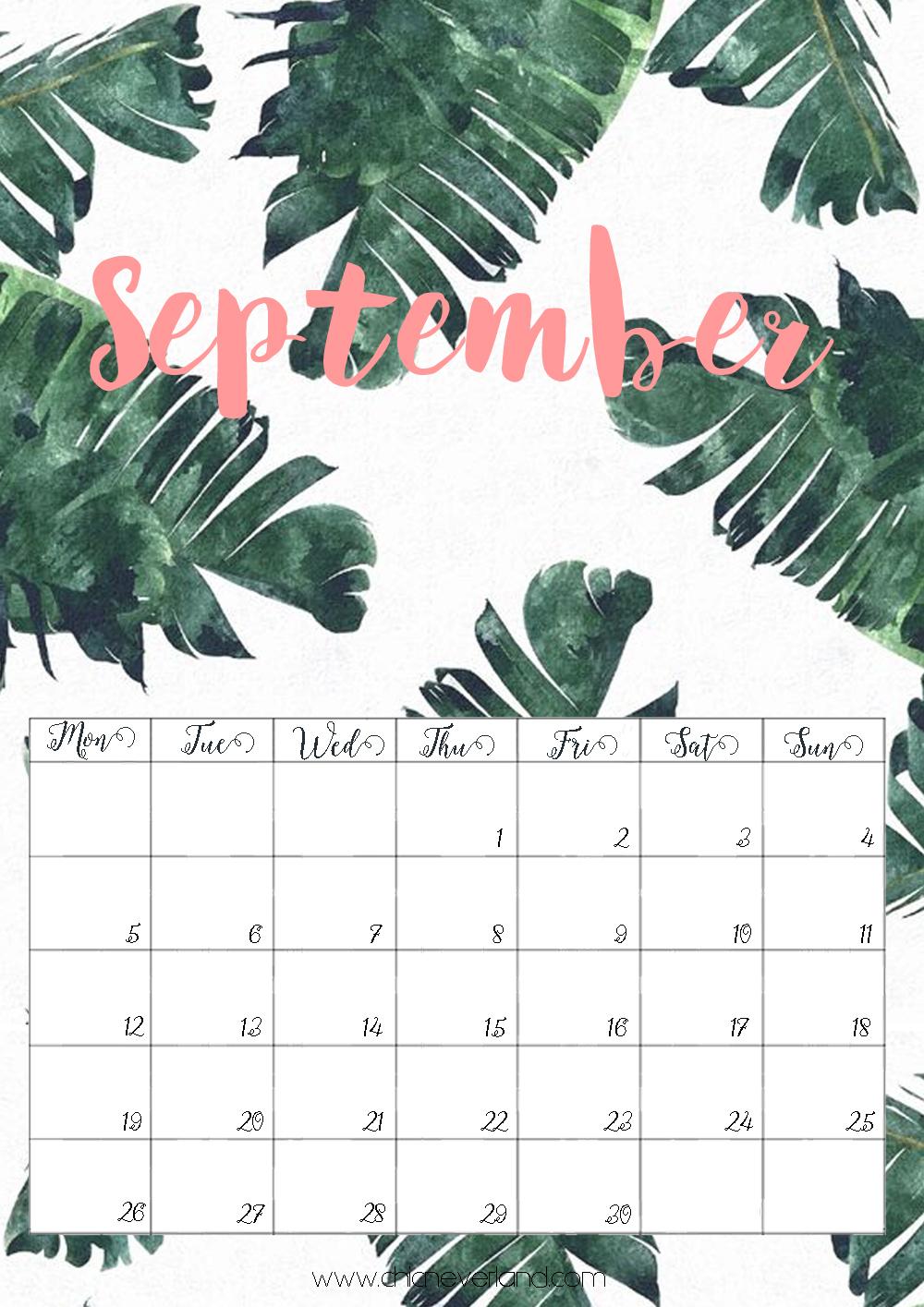 calendario settembre 2016 gratuito stampa acquerello autunno