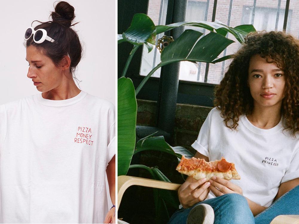 tee shirt ricamata pizza lover motto