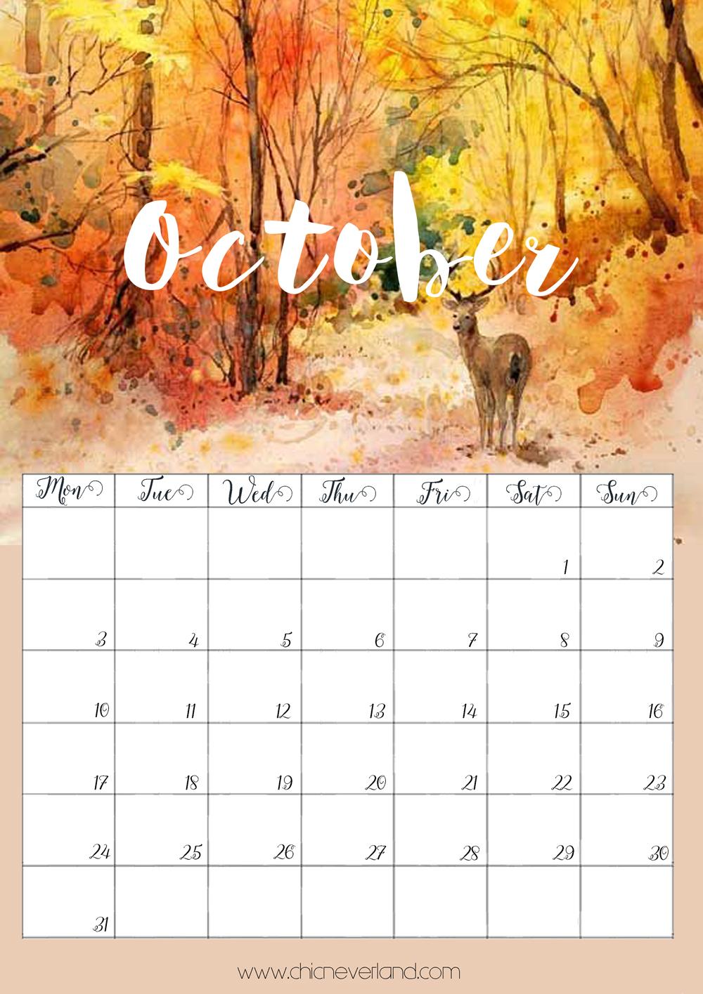 calendario ottobre 2016