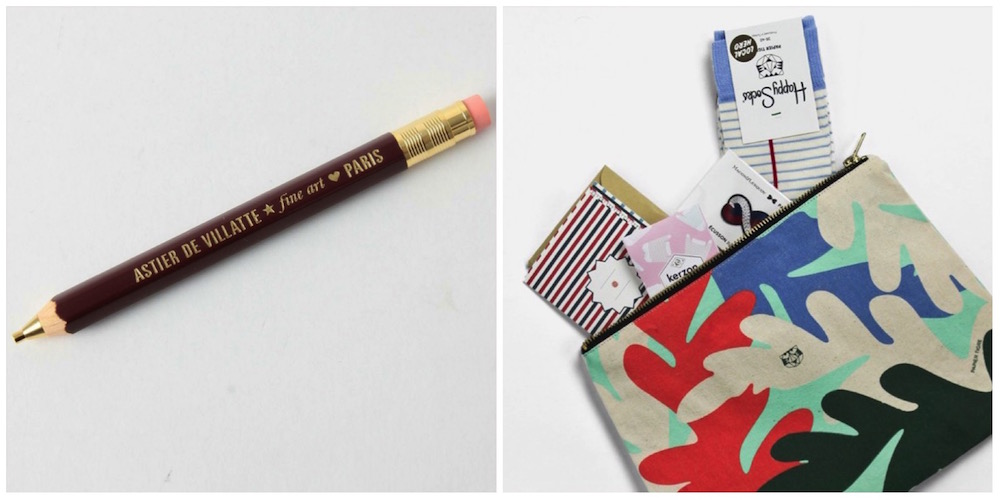 idee regalo originali di cartoleria: matita portamene Robusto e bustina con quaderni