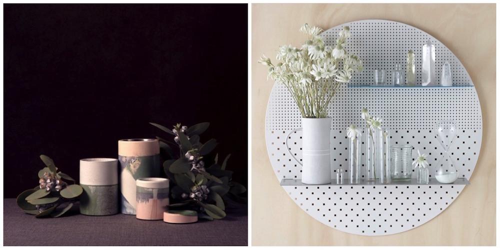idee originali per regali di design: vasi in cemento e scaffali tondi