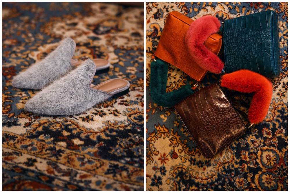 pantofole chic in lana e borse in eco pelliccia