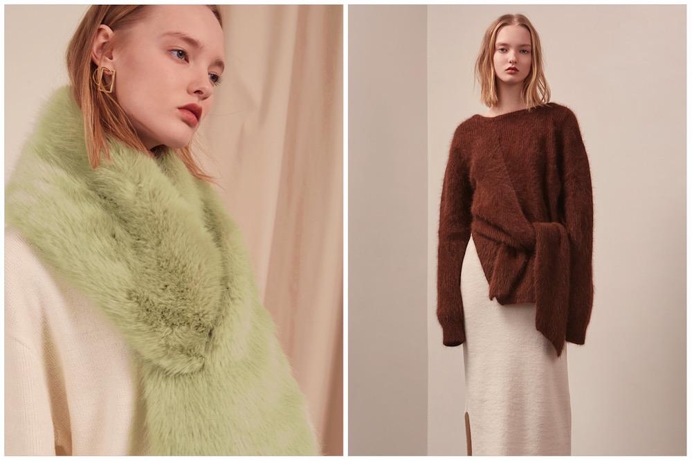 stola in eco pelliccia pastello e maglione con nodo e scollo a V