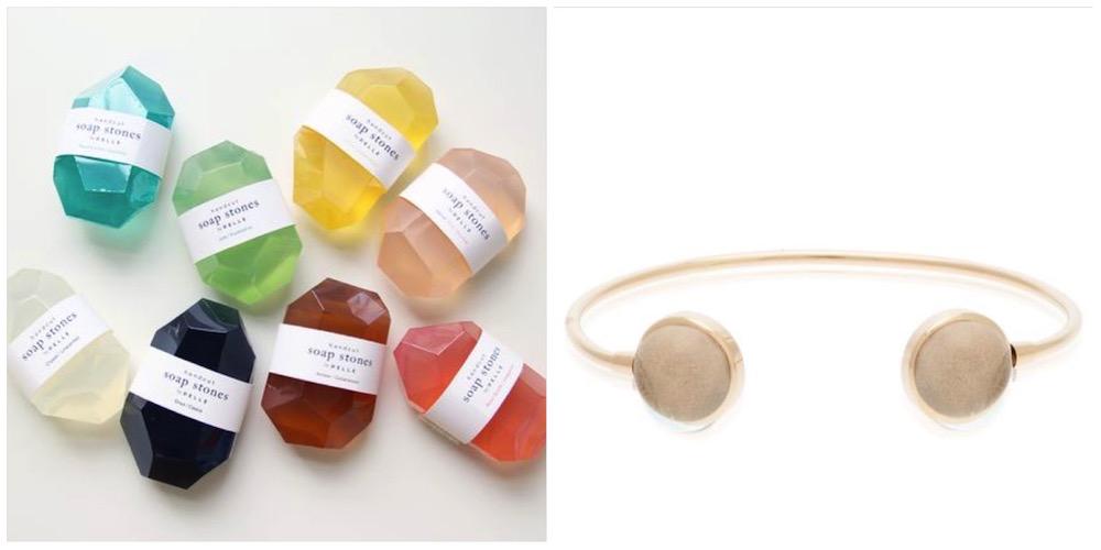 idee regalo preziose: sapone a forma di diamante e bracciale con cristalli