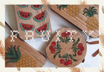 Grav Grav: borse di legno ricamate a punto croce