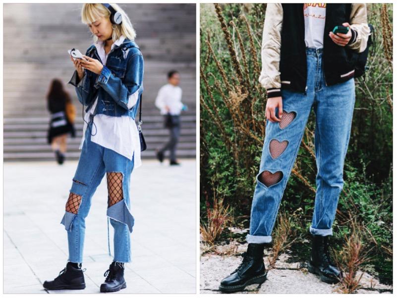 come abbinare calze rete e jeans strappati