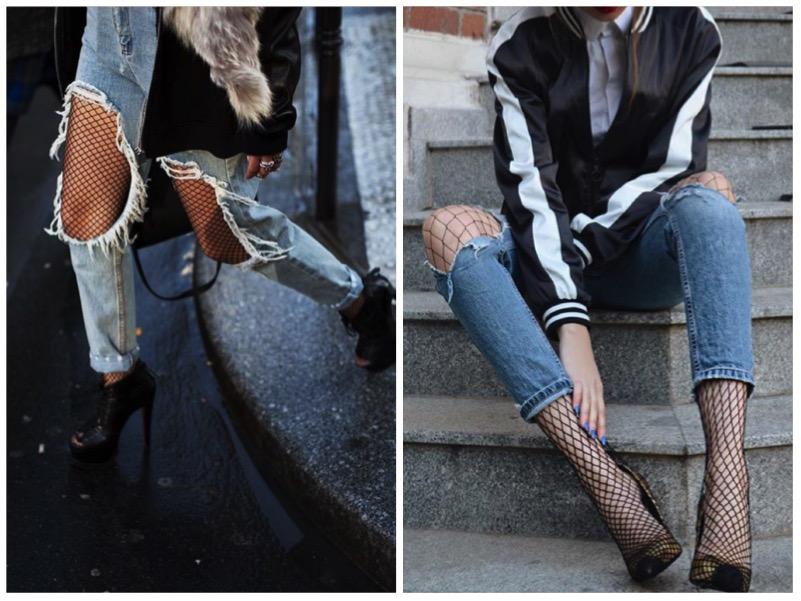 come abbinare calze a rete e jeans strappati