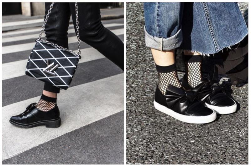come abbinare calzino a rete e scarpe basse