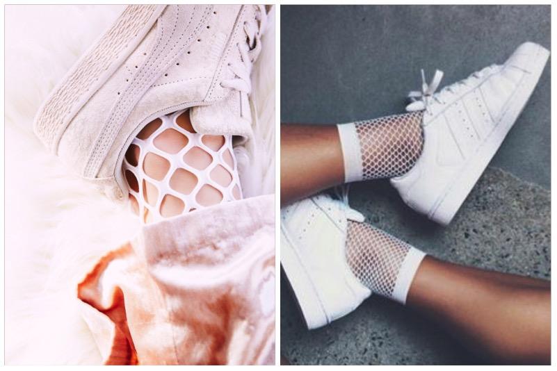 come abbinare calzino a rete e sneakers
