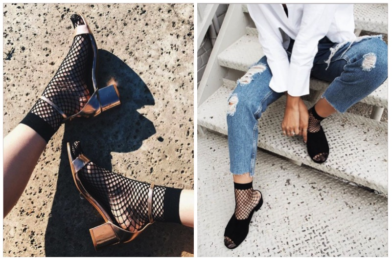 come abbinare calzino a rete e sandali