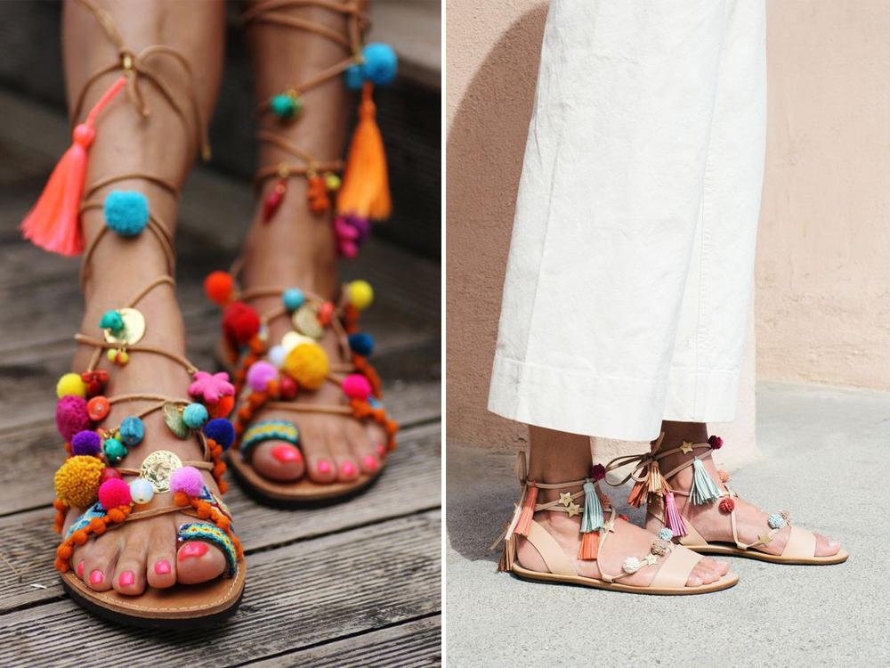 sandali con pom pom colorati che tutti vogliono