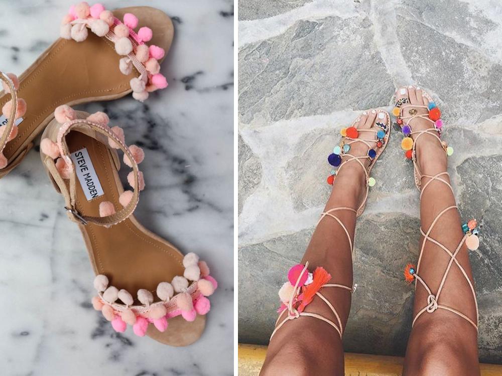 mini trend estate: sandali con pom pom, applicazioni e decorazioni