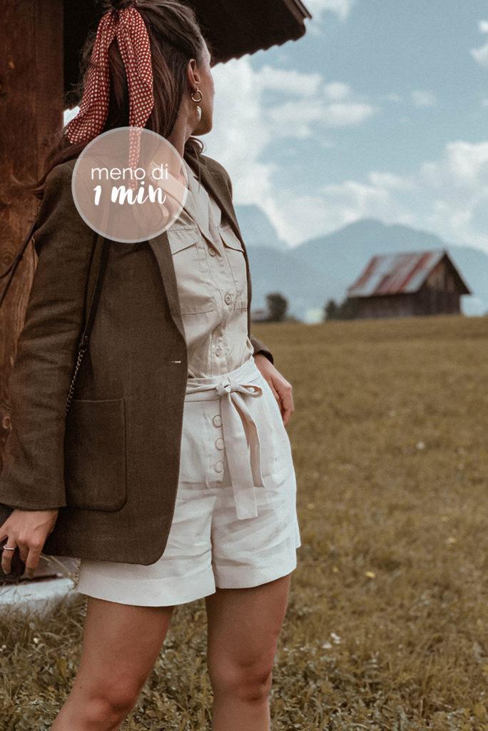 blazer shorts look montagna beige neutro copertina