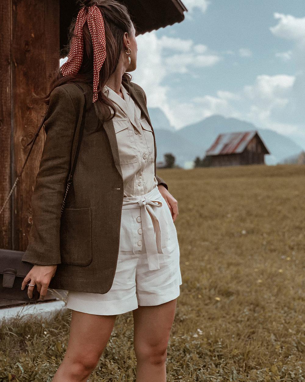 blazer shorts look montagna beige